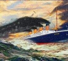 A digital painting of RMS Titanic 1912 by Dennis Melling