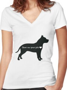 Show me your pits Women's Fitted V-Neck T-Shirt