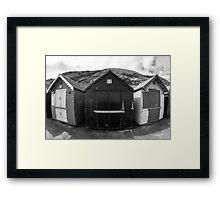 Fish Eye Beach Huts Framed Print