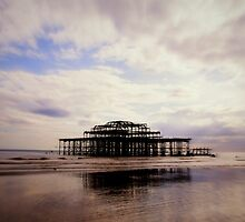 West Pier and Low Tide Reflection by plcimages