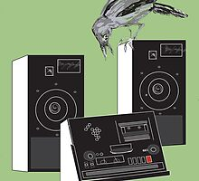 tape recorder and crow by vectorass