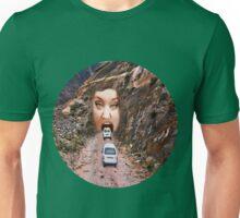 (✿◠‿◠) FACE IN MOUNTAIN OPEN MOUTH DRIVE THROUGH TEE SHIRT (✿◠‿◠) Unisex T-Shirt