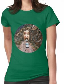 (✿◠‿◠) FACE IN MOUNTAIN OPEN MOUTH DRIVE THROUGH TEE SHIRT (✿◠‿◠) Womens Fitted T-Shirt
