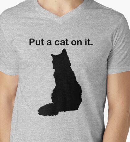 Put a cat on it. Mens V-Neck T-Shirt