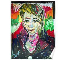 SELF PORTRAIT - acrylic, tempera, paper 18 x 24'' Poster