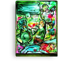VIBRATIONS - acrylic, tempera, paper 18 x 24'' Canvas Print