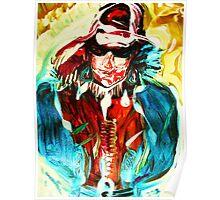 fragment SNOW WALK - acrylic, tempera, paper 22 x 28'' Poster