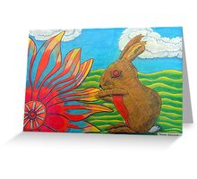 383 - FLOWER-LOVING BUNNY - DAVE EDWARDS - COLOURED PENCILS - 2013 Greeting Card