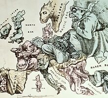 Comic map of Europe by Frederick Rose, c.1870 (litho) by Bridgeman Art Library