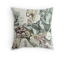 Comic map of Europe by Frederick Rose, c.1870 (litho) Throw Pillow