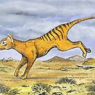 Thylacine running on Christmas day by SnakeArtist