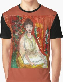 Lady In Front Of Decorated Screen Graphic T-Shirt