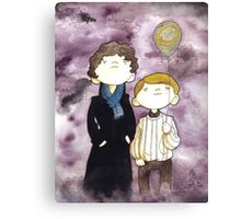 Sherlock and John and a yellow smile balloon Canvas Print