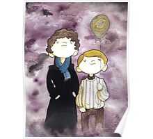 Sherlock and John and a yellow smile balloon Poster