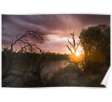 Amazing sunrise over the Murray River Poster