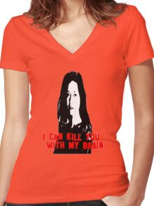 Kill You With My Brain Women's Fitted V-Neck T-Shirt