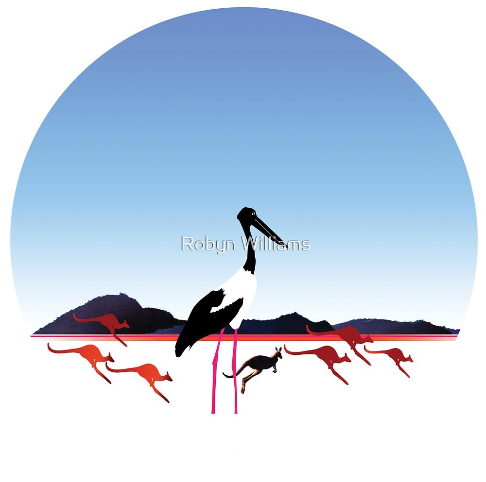 "Day 149 | 365 Day Creative Project  ""Jabiru & Kangaroos"" by Robyn Williams"