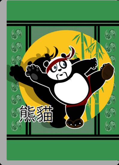 Martial Arts Panda - Green by Adamzworld