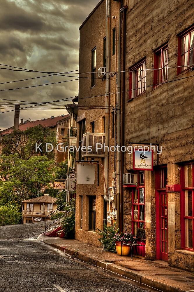 Stormy Street Of Jerome Arizona by K D Graves Photography