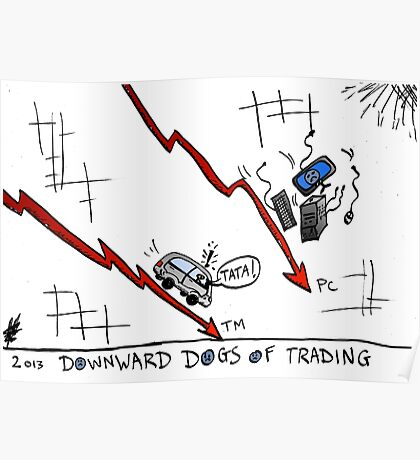 Tata and PC Downward Stocks Caricature Poster