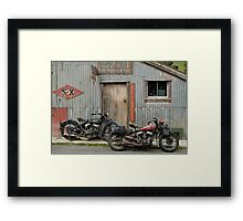 Indian Chout and Chief Bobber at the old Okains Bay Garage Framed Print