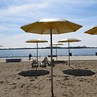 Golden Beach Umbrellas by Marie Van Schie