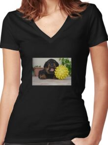 Tiny Rottweiler Puppy Playing With Large Toy Ball Women's Fitted V-Neck T-Shirt