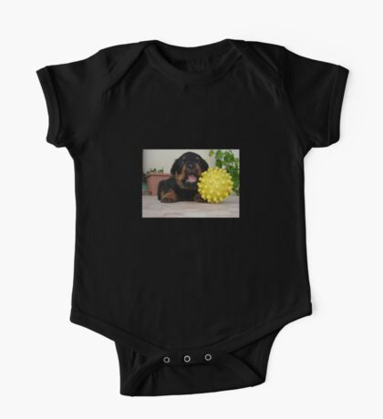 Tiny Rottweiler Puppy Playing With Large Toy Ball One Piece - Short Sleeve