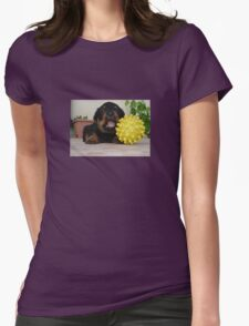 Tiny Rottweiler Puppy Playing With Large Toy Ball Womens Fitted T-Shirt