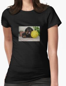 Tiny Rottweiler Puppy Playing With Large Toy Ball T-Shirt