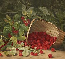 Fruit Still Life - Basket of Raspberries - Vintage Painting of Raspberries - Fruit Images by traciv