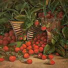 Fruit Still Life - Basket of Strawberries - Vintage Painting of Strawberries - Fruit Images by traciv