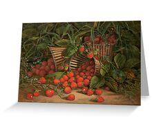 Fruit Still Life - Basket of Strawberries - Vintage Painting of Strawberries - Fruit Images Greeting Card