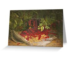 Fruit Still Life - A Harvest of Currants - Vintage Painting of Currants - Fruit Images Greeting Card