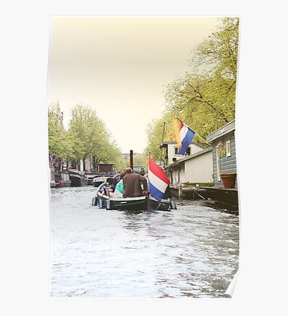View of Amsterdam canal from boat Poster