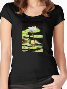 White Water Lily Standing Up Women's Fitted Scoop T-Shirt