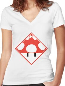 Red Mario Mushroom Shipping Placard Women's Fitted V-Neck T-Shirt