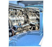 Engine Of a Blue Hot Rod Poster