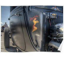Flat Black Hot Rod With Lady Decal Poster