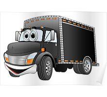 Delivery Truck Black Cartoon Poster