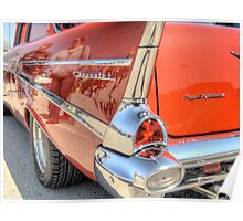 Rear End Of a Red Classic Car Poster