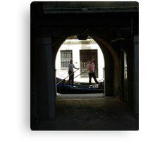 Gondolas passing Canvas Print