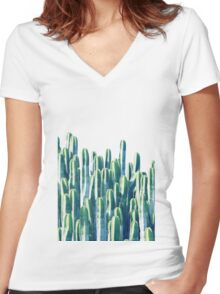 Cactus V2 #redbubble #home #lifestyle #buyart #decor Women's Fitted V-Neck T-Shirt