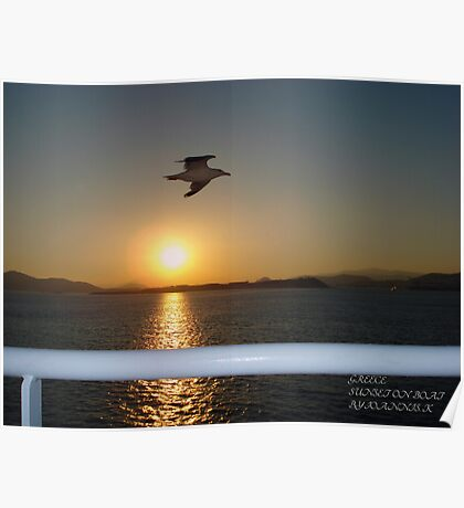 Sunset On The Boat Poster