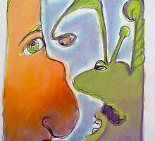 Aliens - Orange face and Green face - interacting by Lynne Head-Weir