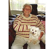 My Brother at 90 years with Teddy Photographic Print