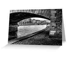 Walking On The Banks Of The River Seine Paris Greeting Card