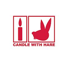 Candle with Hare - Handle with Care Photographic Print