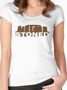 Stoned (Brown Print) Women's Fitted Scoop T-Shirt