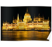 Budapest Parliament Night Shot Poster
